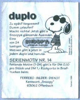 Snoopy - Glitzersticker ( Duplo Sammelbild Nr. 14 ) - Niddatal Zentrum