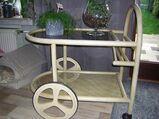 Holz Teewagen aus hellem Holz mit Glasböden
