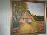 Ölgemälde, Heidelandschaft mit Scheune,1946, E. Aumann, Retro - Cremlingen