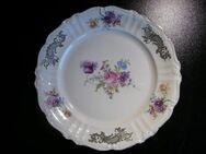 Oscar Schaller Porzellan Teller 25,5 cm Kuchenteller Servierteller Gebäckteller elfenbeinfarben Blumen Gold Retro Vintage 8,- - Flensburg