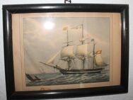 Verglastes Wandbild mit Segelschiffen, 24 x 33cm im alten dunkelbraunen Vollholzrahmen - Bad Belzig