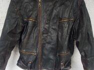 Herren Biker Leder Jacke XL/54 – Outdoorjacke aus den 80er, von Green Leaf in schwarz,Gebraucht - Reinheim