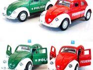VW Beetle - Käfer POLIZEI+FEUERWEHR Modellauto Rückzugmotor 10cm wie NEU - Nürnberg