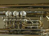 Meister J. Scherzer C - Konzerttrompete aus Goldmessing mit Neusilberkranz inklusive Koffer. Neu - Hagenburg