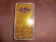 HANDYHÜLLE für Samsung Galaxy J1 Backcover/ Gold-Glitzer flüssig - Duisburg