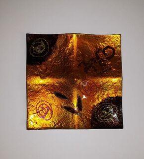Spanische Mallorca Glas Schale Platte Teller Gold galb orange schwarz quadratisch - Nürnberg