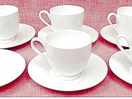 6 Unterteller + 5 Tassen von Classic Bone China - weiß - Groß Gerau