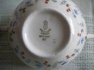 Seltmann Weiden,Germany-Porzellan-Zuckerdose mit Deckel,Weiß,Bunt,Gold,Blumen,Alt,1924-1948 - Linnich