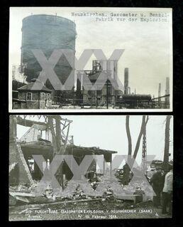 """2 alte Postkarten"""" Neunkirchen Saar Gasometer Explosion 1933"""" - Niederfischbach"""