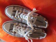 "NEU * Stylisch * Gold- Glitzer Karo * Freizeit * Stoff * Chucks * Sneaker * Schuhe ""Converse All Star"" Original * Gr. 38½ * 38,5 / 5½ * 5,5 * schwarz * weiss * RAR * - Riedlingen"