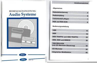 Ford Audiosysteme Autoradio 1000 3000 4000 5000 6000 7000 Anleitung - Fürth