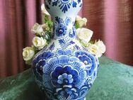 Alte Vase DELFTS Holland / Blaues Blumenmotiv / Dekoration handbemalt - Zeuthen