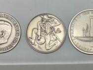 3 Silbermedaillen Theodor Heuss, John F. Kennedy, Freiherr von Münchhausen - Mannheim