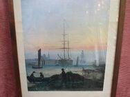 verglaster Vollholzrahmen mit Küstenbild samt Segelschiffen - Bad Belzig