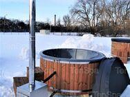 4-6 Personen Hot Tub aus GfK mit Außenofen und Whirlpool Badefass Badebottich Badetonne Badezuber - Ennigerloh