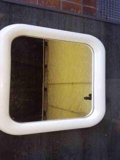 Verkaufe  Haushaltsspiegel, 26 cm x 31 cm, mit weisen Kunststoffrahmen, Rahmen 34 cm x 38,5 cm - Büchenbach