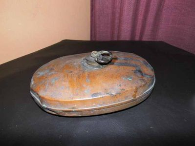 Antiker Bettwärmer - Wärmeflasche mit verziertem Schraubverschluss Kupfer - Zeuthen