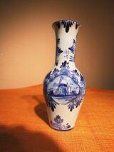 Schöne Keramik Vase blue Holland handgemalt / Blumenvase Windmühle blau