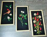 3 x Stück Gobelin Stickbild Wandbild Blumen mit Rahmen