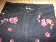 "NEU * Edel * Glitzer * 3D Blüten * Stickerei * Hippie- Style * Jeans- Hose ""ESCADA"" Original * Gr. 34- 36/ S * dunkel- blau * bunt * - Riedlingen"