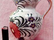 Keramik-Kanne mit bunt bemalten Blumen - Handarbeit - ca. 21 cm Länge - Groß Gerau