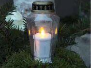 Grabdekoration Trauerlicht LED mit Golddeckel, Memoria Kerze - Uslar