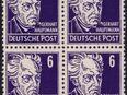 """DDR: MiNr. 328 v b X I, 00.00.1953, """"Persönlichkeiten aus Politik, Kunst und Wissenschaft: Gerhart Hauptmann"""", Viererblock, geprüft, postfrisch in 14776"""