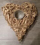 Kerzenhalter Dekoherz Herz aus geflochtenen Ästen