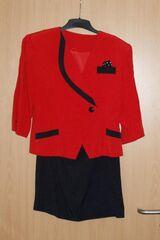 """Kostüm Kleid 2-teilig mit Blazer/Jackett - Rock """"schwarz / rot"""" Gr. 38/40"""