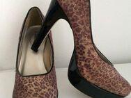 Damenschuhe Pumps High Heels Plateau Leopard Gr.37 Samt Glitzer schimmernd Lack NEU..!!! - Geislingen (Steige)