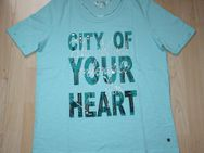 Damen T-Shirt mit Pailletten Glitzer Kurzarmshirt Baumwolle Rundhals türkis mintgrün Gr. S 38 NEU - Sonneberg