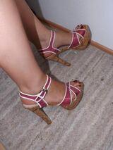 High-Heel-Sandaletten, rosa Kunststoff transparent, Gr. 40, gebraucht