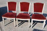 3 gepolsterte weiße Jugendstil Stühle / Holzstühle zu Aufarbeiten