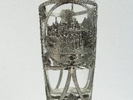 Glas mit Jugendstil-Fassung, Andenkenglas von Pforzheim Rathaus - Königsbach-Stein