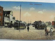 Ansichtskarte, Postkarte, Libau, Johannisplatz, Straßenbahn, 1918 koloriert - Königsbach-Stein
