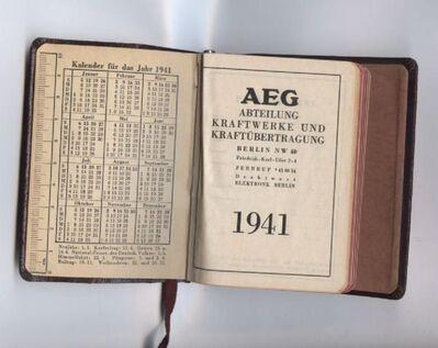 AEG 1941 Kalender - Taschenkalender - Taschenkalenderbuch mit Bleistift - Nürnberg