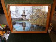 Wandbild,Foto,Mühle bei Leiden,Holland,Holzrahmen,Alt,ca. 35x28 cm - Linnich