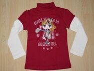 Mädchen Rollkragen Pullover Kinder Pulli Langarm Lagenlook Sweatshirt 2in1 Rolli pink/weiß Gr. 110 NEU - Sonneberg
