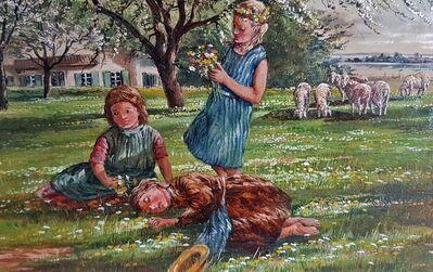 Ölgemälde Alfred FRITZSCHING Frühling Kinder Mädchen Schafe Wiese Natur Bio Landhaus - Nürnberg