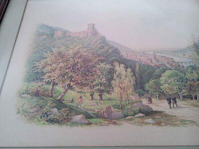 Sehr seltene Lithographie, Heidelberg zur Zeit der Romantik, um 1880 - Stuttgart