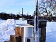 4-6 Personen Hot Tub aus GfK mit integriertem Holzofen und Whirlpool Badefass Badebottich Badetonne Badezuber - Ennigerloh
