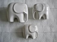 Porzellan/Keramik-Elefantengruppe,3 Stück,Weiß,Gold,versch. Größen,Alt - Linnich