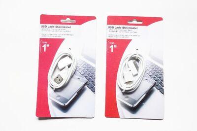 """2 USB Sync Daten-/Ladekabel 1m """"weiß"""" für iPhones, iPads oder iPods - Andernach"""