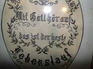 Antiker Jugendstil Stuck - Bilderrahmen mit gesticktem Haussegen / ca.1910 - Zeuthen
