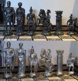 Schach Schachspiel Zinn Figuren Römer gegen Römer mit Schachbrett