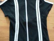 schwarze T-Shirt Jacke mit Doppelreißverschluss und weißen Streifen - Dortmund Aplerbeck