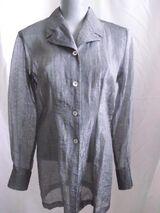 Longbluse Blue Fields Gr. 36 / 38 metallic grau Neuwertig