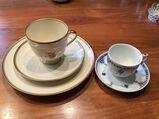 Fürstenberg; Kaffeeservice mit Goldrand und alte Mokkatasse