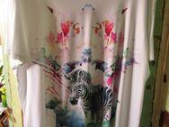 Damen T-Shirt runder Ausschnitt (Gr. 52) weiß mit Zebra, Elefant, Pfau - Weichs