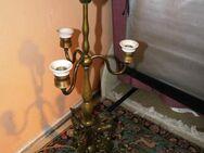 Antike Tischlampe aus Messing / Jugendstil Lampe mit Steinböcken um 1910 - Zeuthen